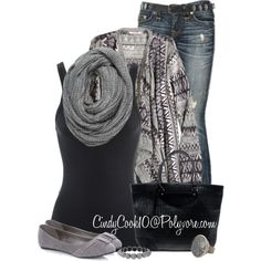Cardigan and Jeans, created by cindycook10 on Polyvore