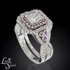 Diamond Ring, Diamond Engagement Ring, Cushion Cut Engagement Ring, Cushion Cut Diamond Ring, Amethyst Ring, Contoured Wedding Band - LS3604 on Etsy, $9,515.34