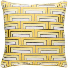 Mod Steps Sunflower and Ivory 22-Inch Pillow with Poly Fill