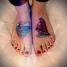 Tattoos on the feet of the girl - Scarlet Sails