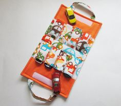 Toy Car TOTE Holds 8 Kid Car/Orange by MyHappyHobbies on Etsy