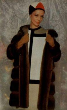 1965-66 - Yves Saint Laurent 'Mondrian' dress & fur coat.jpg