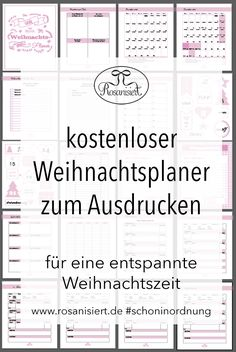Der Rosanisiert-Weihnachtplaner - kostenloses Printable - Rosanisiert - The Best Holidays and Events Trends and Ideas Christmas Planner Free, Christmas Mail, Christmas Countdown, Little Christmas, Christmas Printables, Christmas Time, Xmas, Printable Planner, Free Printables