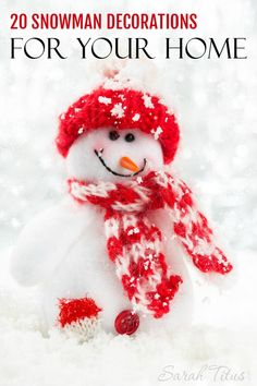 Do you love snowmen as much as I do? They are so stinkin' cute! Maybe you have a friend or family member who collects snowmen. If so, you are in luck. I put together this fantastic list of 20 Snowman Decorations For Your Home for the snowman obsessed like me. :)