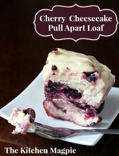 Cherry Cheesecake Pull Apart Loaf, the best pull apart bread recipe you'll find! Cherries and cream cheese, amazing! Just Desserts, Delicious Desserts, Dessert Recipes, Brunch Recipes, Brunch Dishes, Baking Desserts, Cheesecake Recipes, Dessert Ideas, Bread Recipes