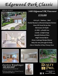 New Listing! Real Estate for Sale: $550,000-5 Bd/3 Ba Classic Two Level Edgewood Park Traditional Home + Basement with Separate Entrance on .34 Acre Landscaped Lot at: 3400 Edgewood Dr, Vancouver, Clark County, WA! Area 13. RMLS 20386854. Listing Broker: Jay Ripplinger (360) 909-8387, Realty Pro, Vancouver, WA! #RealEstate #NewListing #VancouverRealEstate #EdgewoodParkRealEstate #SouthWestHeightsRealEstate #SouthWestHeights #FiveBedroomRealEstate #TwoLevelRealEstate #MainFloorLiving