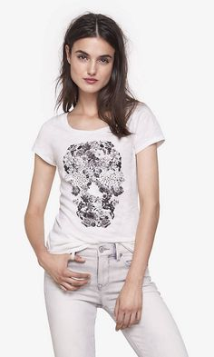 Rhinestud Floral Skull Crew Neck Tee | Express