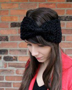 Crochet Earwarmer Headband Big Hair Bow in Black Winter Fashion Fall Accessory