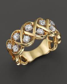 Diamond Crossover Band with Solitaire Stations in 14K Yellow Gold, .50 ct. t.w.
