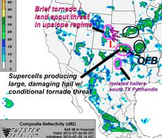 SEVERE WEATHER SETUP TODAY: Dominator team chasing extreme northwest Oklahoma where we anticipate 1-2 intense SE moving #supercells, with very large #hail. providing live coverage for KFOR-TV and Mike Morgan if severe weather strikes.  We'll be streaming live along with other TVN chasers in our network later this afternoon on http://tvnweather.com/live  A conditional #tornado threat exists given air mass recovery and interaction and outflow boundary (OFB) left behind by overnight storms.