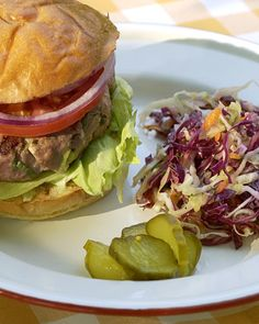 Dijon Turkey Burgers: When you crave something on the lighter side, go for extralean turkey meat. These dijon turkey burgers are flavored with  scallions, dijon mustard, and garlic.