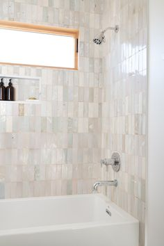 our new eastern earthenware kiln load features the highly-coveted rice paper in three sizes. to see . - How To Clean Clams? Tile Tub Surround, Bath Tiles, Bathroom Shower Tiles, Bathtub Tile, Mosaic Tiles, Feature Tiles, Hall Bathroom, Bathroom Inspiration, Bathroom Inspo