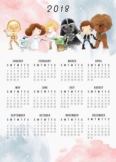 calendário 2018 para imprimir star wars