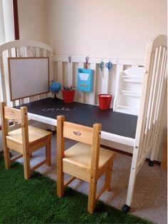 postup 1 Inspirace, jak vyrobit stůl z dětské postýlky
