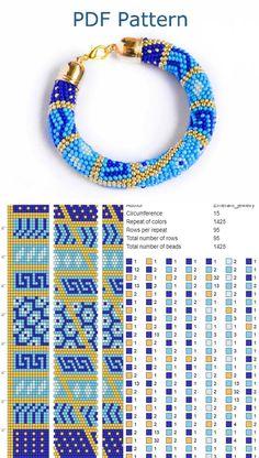 Bead crochet pattern seed bead bracelet tutorial pdf beading master Class jewelry make necklace Crochet Rope tutorial geometric patchwork - Schmuck Crochet Bracelet Pattern, Crochet Beaded Bracelets, Bead Crochet Patterns, Bead Crochet Rope, Seed Bead Patterns, Beaded Bracelet Patterns, Jewelry Patterns, Beading Patterns, Macrame Bracelets