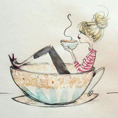 I love Anne Higgins illustrations- they are all so beautiful. This one just covers my love for coffee. I Love Coffee, Coffee Art, My Coffee, Happy Coffee, Coffee Cups, Happy Tea, Night Coffee, Good Morning Coffee, Coffee Barista