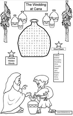Jesus Turns Water into Wine: Sequence Coloring Pages