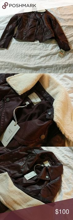 NWT Lucky Brand Burgandy Moto Jacket Sleek fall jacket with removable collar lining Lucky Brand Jackets & Coats