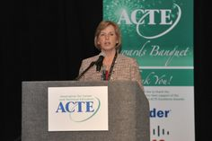 Cheryl Probst, Chair of the ACTE Awards Committee, makes opening remarks.