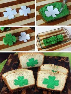 St. Patrick's Day Treat Secret Shamrock Pound Cake - 17 Coolest St. Patrick's Day Treats | GleamItUp