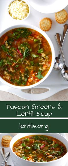 Hearty and healthy, lentils simmer alongside fresh greens and herbs. Don't forget to garnish bowls with fresh shavings of Parmesan. Lentil Soup Recipes, Vegetarian Recipes, Healthy Recipes, Chef Recipes, Healthy Foods, Green Lentil Soup, Green Lentils, Healthy Soup, Healthy Eating