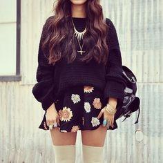 thick sweater/ floral skater skirt/ knee socks