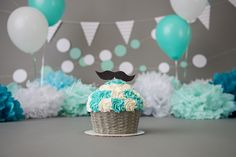 Cake Smash Session | Turquoises & White | Green and White | Mustache | Boy cake smash ideas | www.PaigeLaroPhotography.com