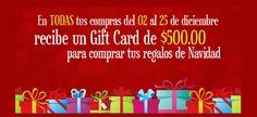 Tarjeta de Regalo de $500 MXN para comprar tus regalos de Navidad.   Haz click para ver más: http://cuponesdescuentos.com.mx/marca/3590