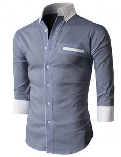 Doublju Men's Button Down Shirts With 3/4 Sleeves Pointed Collar (KMTSTL0207)