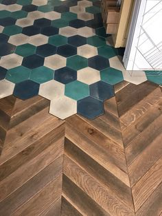 Ideen rund ums Haus Herringbone floor to hex tile transition How to Care for Leather Furniture leath Style At Home, Hexagon Tiles, Hex Tile, Tiling, Planchers En Chevrons, Floor Design, House Design, Design Design, Design Ideas