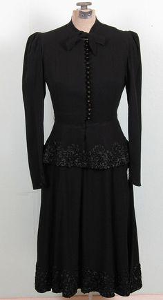 1940s Black Dress