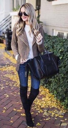 #winter #fashion /  Camel Jacket + White Knit + Black OTK Boots