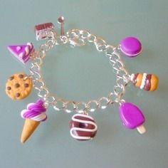 Bracelet 8 gourmandises,  chocolat et violet, pour adulte ou enfant