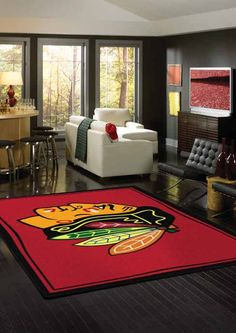 NHL Chicago Blackhawks hockey rug, if I had a game room or bar area this would look spectacular in it. Ohio State Rooms, Ohio State Decor, Ohio State Logo, Ohio State University, Buckeyes Football, Ohio State Football, Ohio State Buckeyes, American Football, Blackhawks Hockey