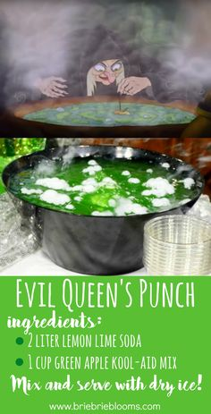 Evil Queens Punch Recipe The quick two ingredient Evil Queens Punch recipe is perfect to celebrate your favorite Villain or to debut during a Halloween party! The post Evil Queens Punch Recipe appeared first on Halloween Party. Halloween Snacks, Bolo Halloween, Disney Halloween Parties, Hallowen Food, Halloween Tags, Halloween Birthday, Halloween Party Decor, Halloween Punch, Halloween Drinks For Kids