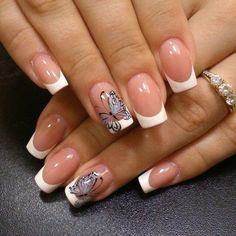 Looking for easy nail art ideas for short nails? Look no further here are are quick and easy nail art ideas for short nails. French Acrylic Nails, French Nail Art, French Tip Nails, Butterfly Nail Designs, Butterfly Nail Art, Nail Manicure, My Nails, Nail Polish, Manicure Ideas