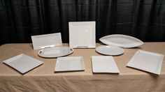 Back Row: Thin Rectangle Platter, Large Square, Arrow  Second Row: Oval with Handles, Oval  Front Row: Medium Rectangle Platter, Small Square Platter, Small Rectangle Platter, Large Rectangle Platter Back Row, Front Row, Platter, Arrow, Medium, Wedding, Valentines Day Weddings, Mariage, Casamento