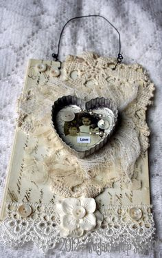 fabric lace collage | LOVE Altered OOAK Fabric Collage Canvas 5 x 7 by sugarlumpstudios