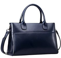Generic Women's Vintage Style Blue Leather Handbag Large *** You can find more details by visiting the image link.