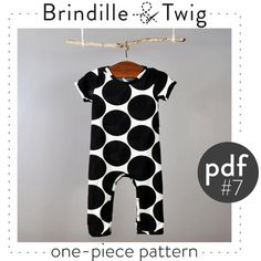 Baby sewing pattern pdf, one-piece coverall, short and long sleeve sizes 0-3M to 2-3T. Pattern 7