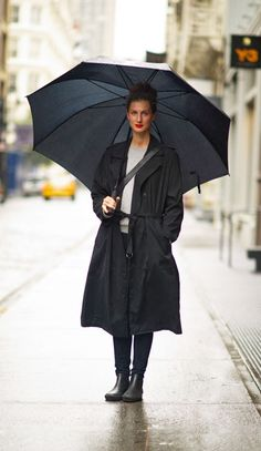 Red lipstick and updo, perfect for a rainy day.