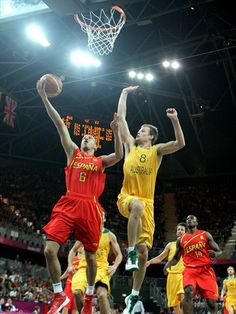 Sergio Rodriguez of Spain attacking the Australian basket in the Basketball Arena on Day 4#