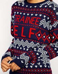 ASOS Christmas Jumper With Trainee Elf Slogan
