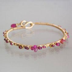 Brazalete de rubí rosado 14 k de oro llena de pulseras