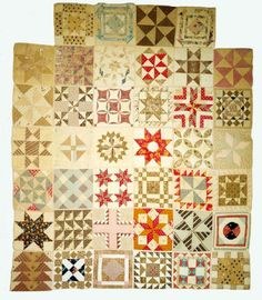 1860's Sampler t-shaped quilt  Maine State Museum Collection
