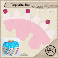7 Best Images of Cupcakes Boxes Templates Printable Free - Free Cupcake Box Template, Free Printable Cupcake Box Template and Free Printable Favor Boxes Templates Paper Toy, Diy Paper, Paper Crafts, Paper Box Template, Box Templates, Cupcake Template, Origami Templates, Printable Box, Printables