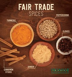 This picture shows some of the different spices that are made from fair trade producers.