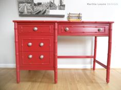 Red desk and paint product suggestions via MarthaLeoneDesign - Cute Decor Paint Furniture, Cool Furniture, Red Desk, Desk Makeover, Modern Dresser, Paint Colors For Home, Furniture Inspiration, Design Inspiration, Furniture Restoration