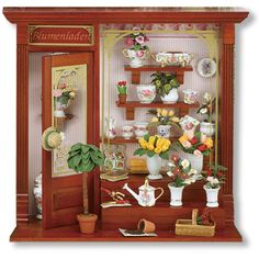 Reutter Dollhouse miniature furniture Flower Shop store shadowbox roombox New