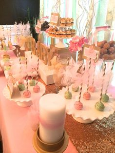 Sweet Simplicity Bakery: Pink, Mint Green, Ivory and Gold Baby Shower Dessert Display Table Buffet with Glitter, Tulle & Sequin accents